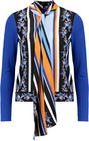 Raoul Pussy-bow printed silk and stretch-jersey blouse