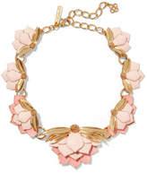 Oscar de la Renta Painted Wild Lotus Gold-plated Necklace - Pink