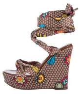 Sergio Rossi Floral Printed Wedge Sandals