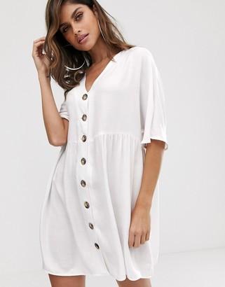 ASOS DESIGN v neck button through mini smock dress in white