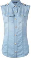 Balmain sleeveless denim shirt - women - Cotton/Lyocell - 36