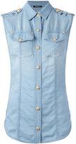 Balmain sleeveless denim shirt - women - Cotton/Lyocell - 40