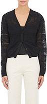 Lanvin WOMEN'S GROSGRAIN-TRIM COTTON-BLEND CARDIGAN-BLACK SIZE XL