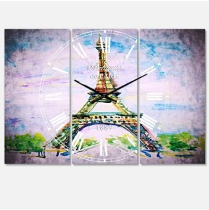 Design Art Designart French Country 3 Panels Metal Wall Clock