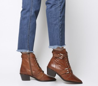 Office Ambassador Lace Up Boots Tan Leather