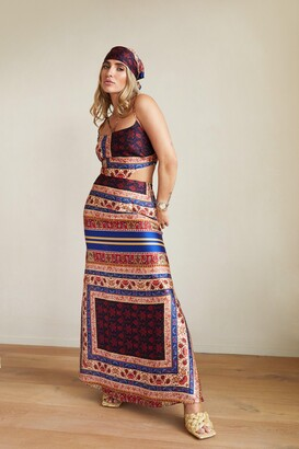Nasty Gal Womens Cut Out Detail Maxi Dress and Headscarf Set - Navy - 4