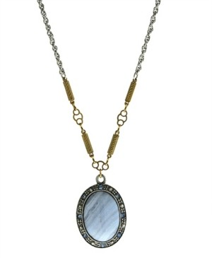 T.r.u. by 1928 Silver Tone Gold Tone Genuine Lace Oval Stone Drop Necklace