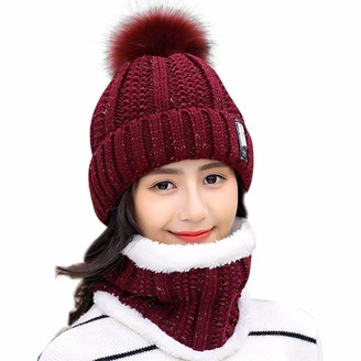 HIDARLING Women Winter Hat Pom Pom Ski Bobble Cap Knitted Beanie Hat with Fleece Liner (Red Wine)