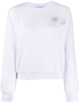 Chiara Ferragni Crew Neck Embroidered Logo Sweater
