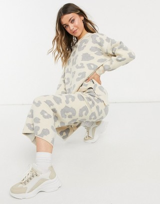 NEVER FULLY DRESSED off shoulder knitted jumper co-ord in oversized cream animal print