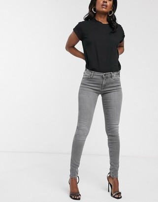 Replay Luz high waist skinny jeans with open hem in dark gray-No Color