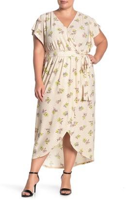 Love, Fire Floral Leopard Print Faux Wrap Maxi Dress (Plus Size)