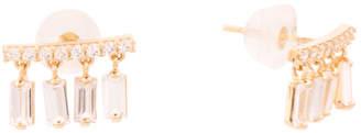 Made In Usa 14k Gold Cz Baguette Chandelier Stud Earrings