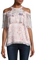 Elie Tahari Genevieve Embellished Floral Silk Popover Blouse, Nude