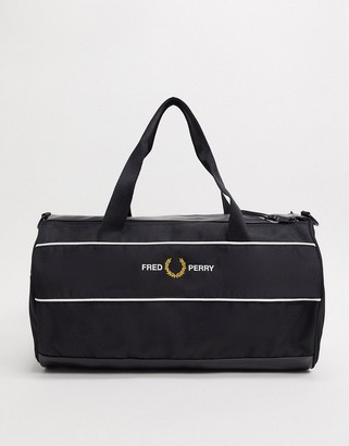 Fred Perry graphic panel barrel bag in black