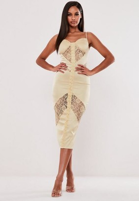 Missguided Champagne Satin Lace Bust Cup Midi Dress