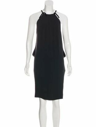 Tom Ford Velvet-Trimmed Silk Dress Black