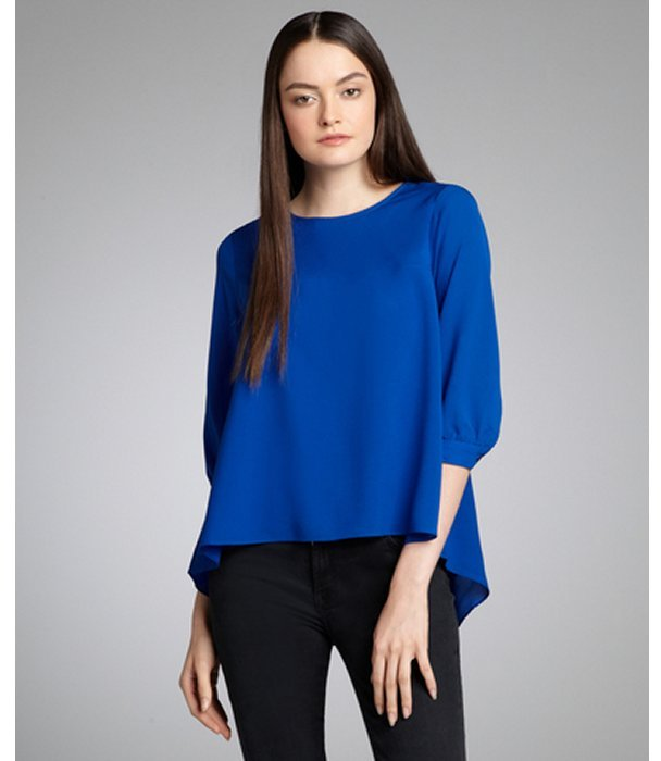 French Connection electric blue high low hem 'Summer Spells' square cut blouse