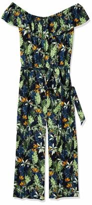 28 Palms Standard Women's Off Shoulder Tropical Hawaiian Print Crop Jumpsuit