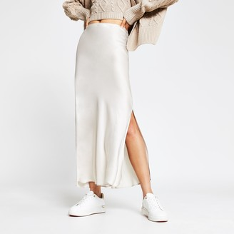 River Island Womens Cream side split satin skirt