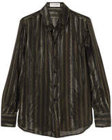 Saint Laurent Metallic Striped Silk-blend Chiffon Shirt - Black