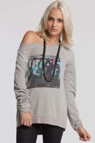 Chaser LA Cheap Trick Reverse Shoulder Long Sleeve Raglan in Metal