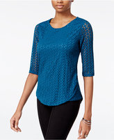 Bar III Elbow-Sleeve Eyelet Top, Only at Macy's