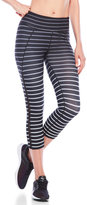Betsey Johnson Striped Mesh Panel Capri Leggings