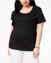 Karen Scott Plus Size Polka-Dot Top, Created for Macy's