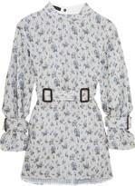Calvin Klein Collection Belted Floral-print Silk-organza Mini Dress - Blue