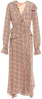 Preen Line Maieka Ruffled Printed Crepe De Chine Midi Wrap Dress