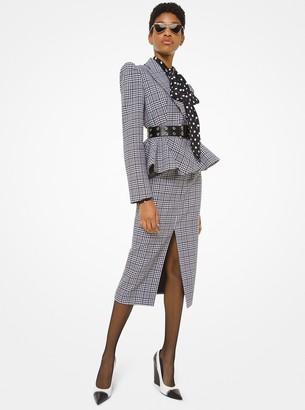 Michael Kors Glen Plaid Wool Peplum Jacket