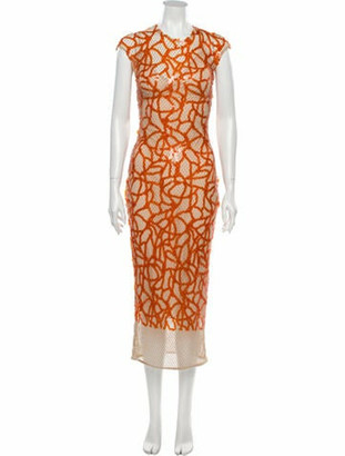 Sandra Mansour 2019 Long Dress w/ Tags Orange