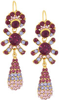 Jose & Maria Barrera Golden Pave Crystal Triple-Drop Earrings, Amethyst