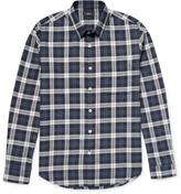 Theory Rammy Plaid Herringbone Cotton Shirt