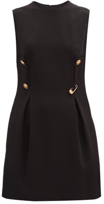 Versace Safety-pin Box-pleated Crepe Mini Dress - Black