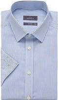 John Lewis Cotton Twill Stripe Regular Fit Short Sleeve Shirt, White/Blue