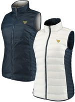 Columbia Unbranded Women's White/Navy West Virginia Mountaineers Lake 22 Reversible Puffer Vest