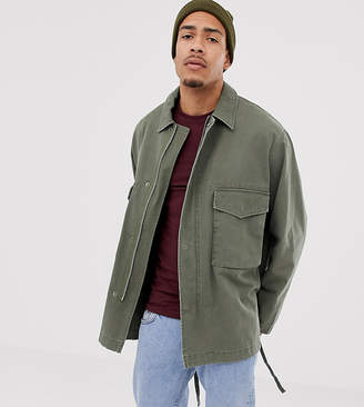 Asos Design DESIGN Tall utility jacket in khaki-Green