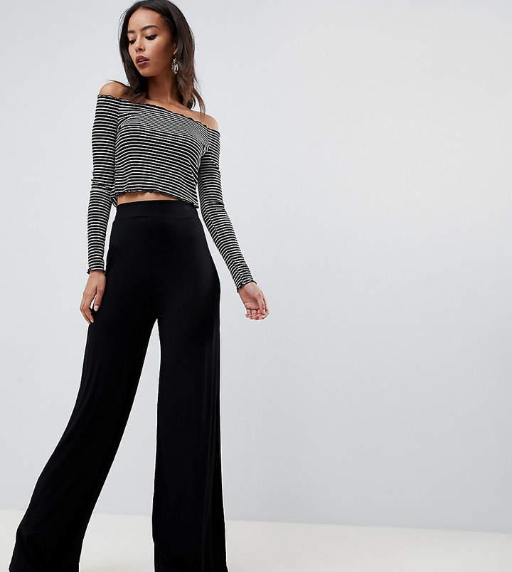 Asos Tall DESIGN Tall jersey basic wide leg trousers