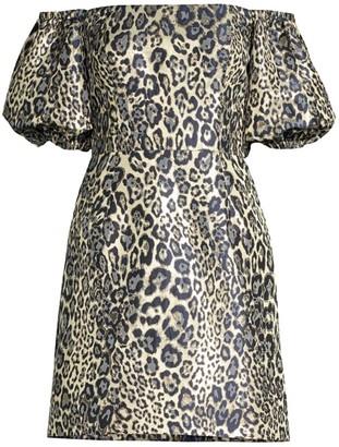 Aidan Mattox Metallic Leopard Print Puff-Sleeve Dress