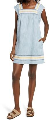 Faherty Hailee Stripe Trim Shift Dress