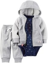 Carter's Baby Boy Dinosaur Print Bodysuit, Cardigan & Pants Set