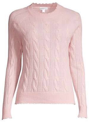 Minnie Rose Cable Knit Frayed Crewneck Cashmere Sweater