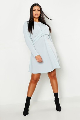 boohoo Plus Wrap Front Woven Skater Dress