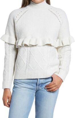 Vero Moda Mock Neck Pointelle Knit & Ruffle Trim Sweater