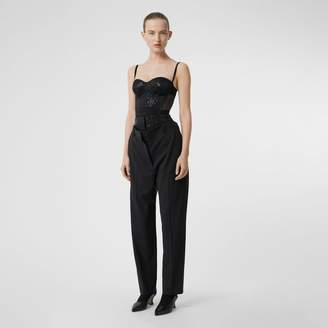 Burberry Sequinned Panel Double-waist Stretch Wool Trousers