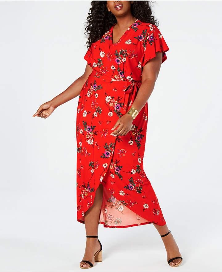 Monteau Juniors\' Plus Size Faux-Wrap Maxi Dress