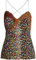 Marco De Vincenzo Multicoloured leopard-print silk cami top