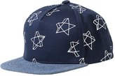Feoya Baby Child Soft Cotton Hiphop Flat Brim Baseball Cap with Embroidered Star for Blue